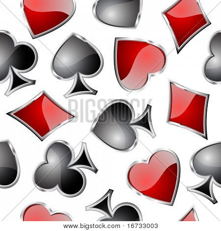 Playing card symbols seamless pattern - vector background for continuous replicate