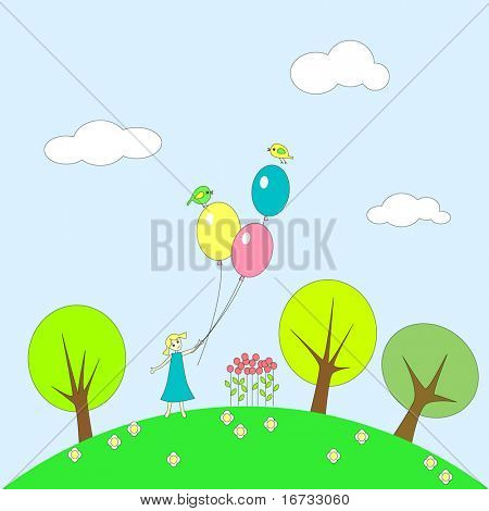 Little girl with balloons on grassy plot.