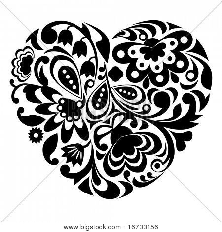 Black ornamental heart on white background.