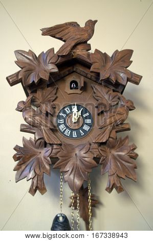 cuckoo clock one o'clock with cuckoo bird singing