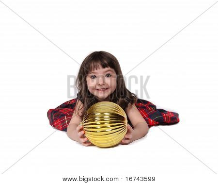 adorable little girl playing with large christmas bulb isolated on white