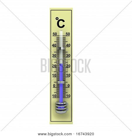 3D Yellow Wooden Termometer