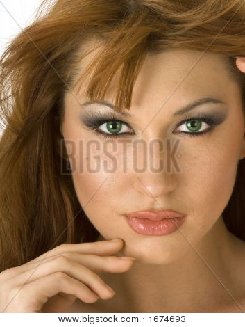 Beautiful Redheaded Woman Closeup Portrait 2