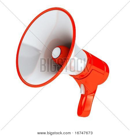 Red megaphone over white background