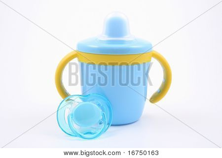 blue baby cup and pacifier
