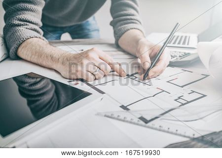 architect architecture drawing project blueprint office business working architectural construction design designer ruler table workplace concept - stock image