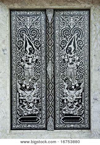Traditional Thai Style Church Door