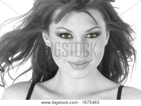 Beautiful Black And White Woman With Green Eyes