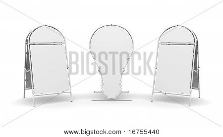 three advertising stand on a white background