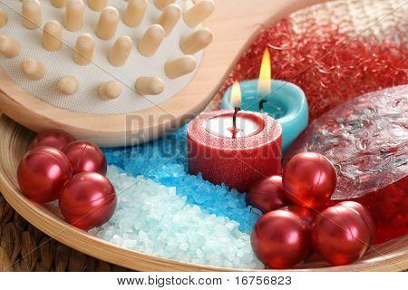 cosmetics bath balls and mineral salt - beauty treatment