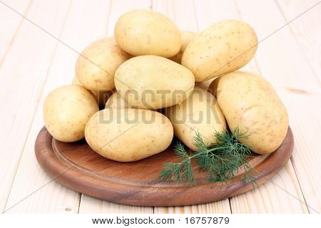 stack of raw and fresh potatoes