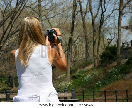 Girl Using Camcorder