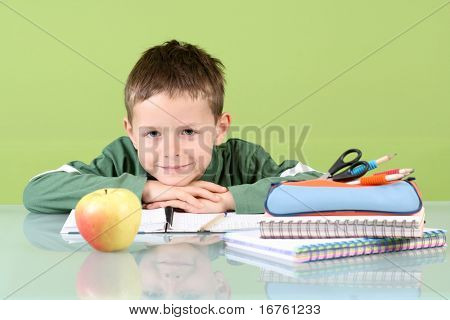 7 years old boy doing his homework - education