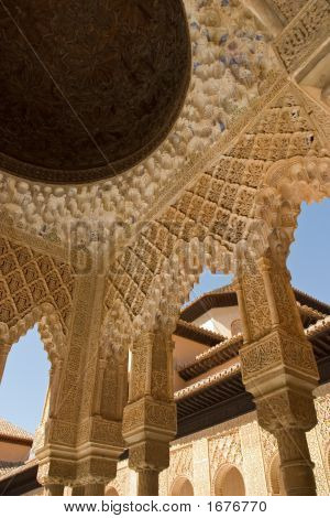 Roof And Column Detail In Alhambra