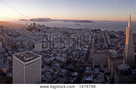 Full View Of San Francisco At Sunset