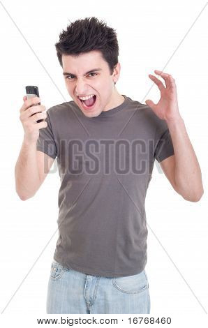 Man Yelling Into Mobile