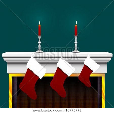 Ready to stuff with your goodies: 3 Christmas Stockings, on a Fireplace Mantle with candles and candlesticks.