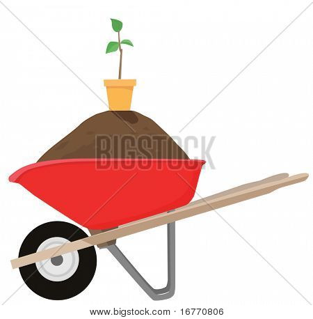 Buy the wheelbarrow and get the dirt, pot, and sapling FREE. While supplies last. Clean vector render.