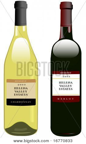 Classic, attractive bottles of wine. Bordeaux shape for red, Rhone shape for white. Clean render of a vector.