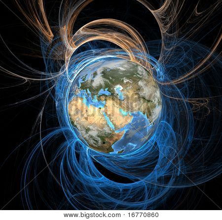 Earth emanating an aura of energy fields, Eastern Hemisphere.