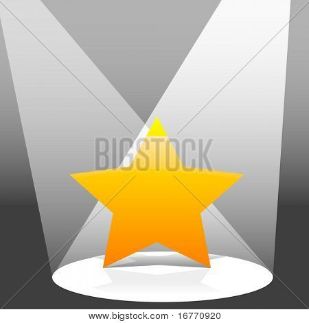 An illustration of a yellow star shines on a stage in two spotlights. Clean render of a vector.