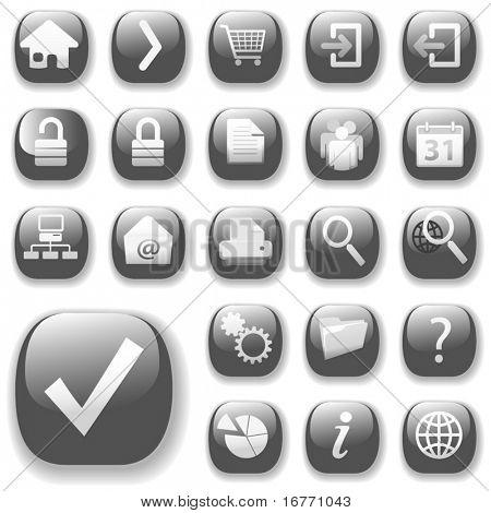 Seu conjunto de ícones de botão brilhante está pronto. A coleção de navegação do site cinza.