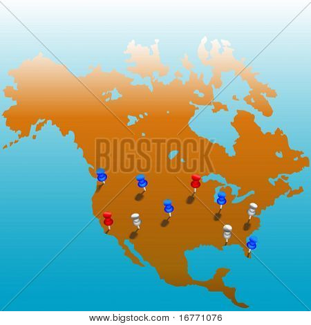 Stick pins in the US. Map of America & color tacks on layers for easy edit. Bleeds to white at top; copyspace galore.