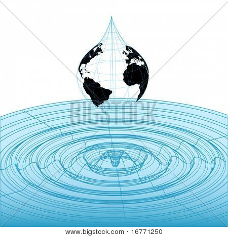Earth globe rain drop falls into classic 3D wireframe waveform graphic, mathematical wave pattern.