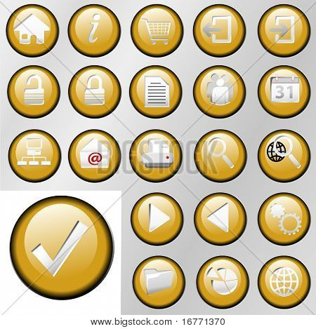 Set of shiny gold inset Control Button Icons for white or gray backgrounds.