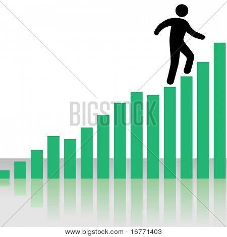 Una persona de negocios símbolo sube un gráfico de la tabla de ganancias como escaleras, con reflexión.