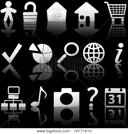 Gray Icon Symbol Set: Globe Security Question Email People, etc. On black with reflections.