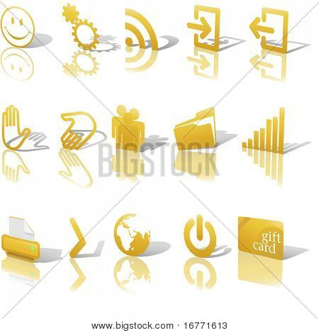 Gold Angled Icon Symbol Set 2: Printer; Gears; Chart; Earth; People; RSS; etc. On white with shadows & reflection. Clipping paths of icons with shadows and reflections and icons only.