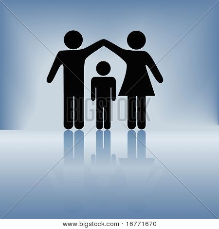 A mother and father hold up arms over their child to form a roof of security, protection, and safety on a blue background with reflection.