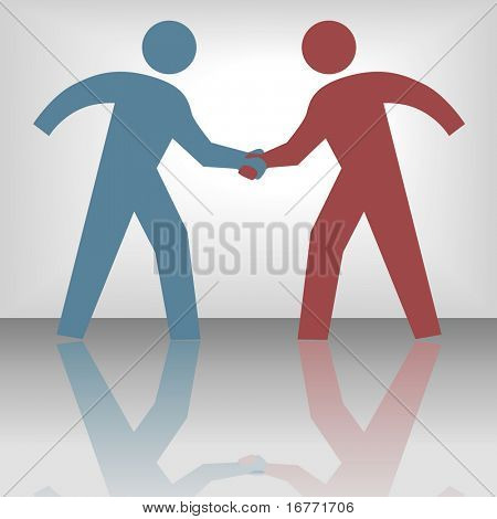 People join in handshake & agree to a cooperate in a business or other deal as a team.