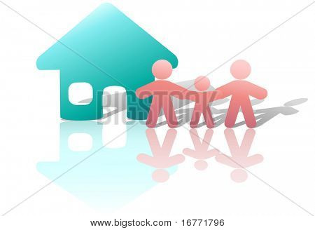 A happy family holds hands in front of their home, in a parents & child symbol or icon. Includes a clipping path of the people and their reflections.