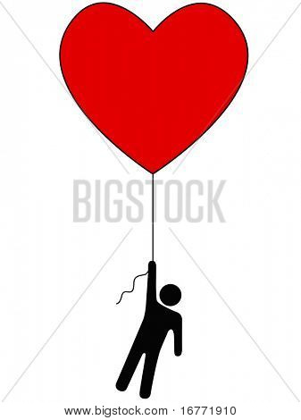 Love Lifts Us Up: a red heart balloon and person symbol on a string.