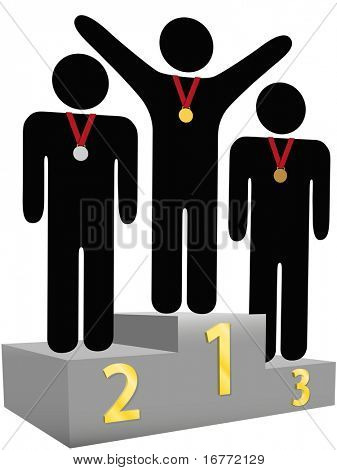 People get gold silver bronze medals on three tier award podium platforms for first second third place.