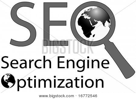SEO Magnifying Glass symbol of world wide web internet Search Engine Optimization.