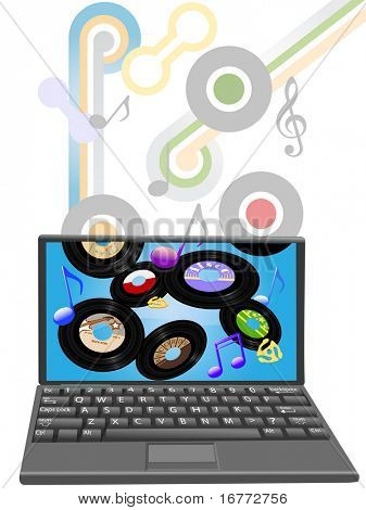 Download solid gold 45 RPM oldies or new music songs to a laptop computer.