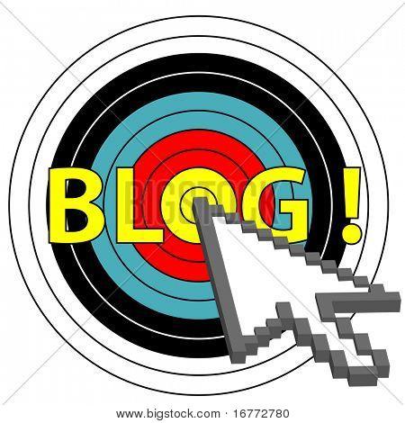 A pixel arrow cursor clicks on a target market blog topic.