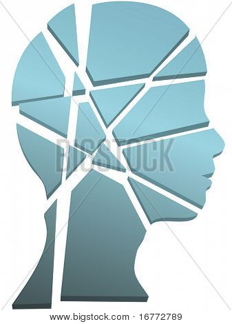 Psychology mental health concept - a person's head in profile shattered to pieces.