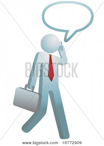 Busy Businessman on the go walks and talks on cell phone into a speech bubble.