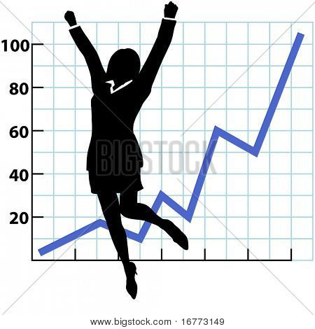 A business woman silhouette jumps and raises her fists in celebration of success on a chart of growth or profit.