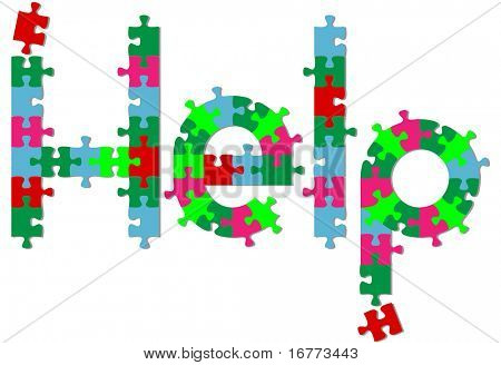 Jigsaw puzzle pieces search find HELP answer on a shadow.