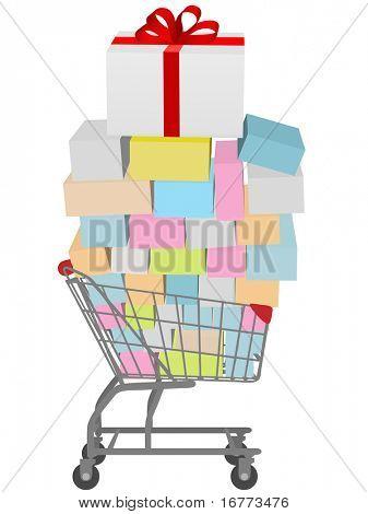 Caixa de presente com laço de fita vermelha no carrinho de compras cheio de presentes para comprar.