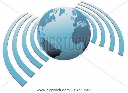 Wireless world wifi Earth broadband symbol of worldwide internet access.
