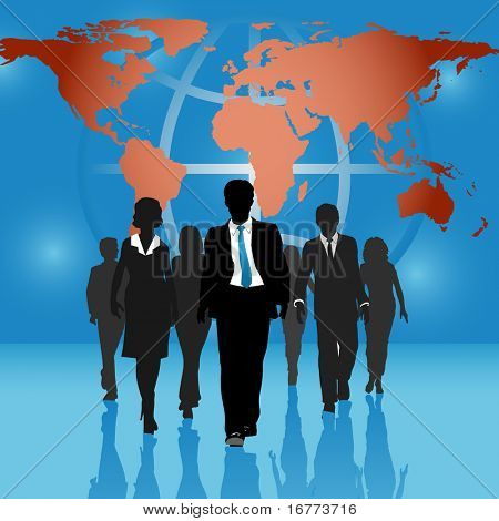Team of international business people go forward on world map globe background.