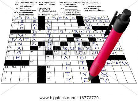 A pen solves a Business Plan Answers Crossword Puzzle.