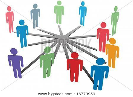 People connect in a social media network or business company.
