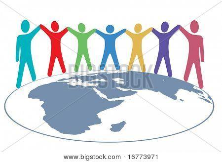 Постер, плакат: Различные группы людей символ держаться за руки вокруг карты планеты Земля , холст на подрамнике